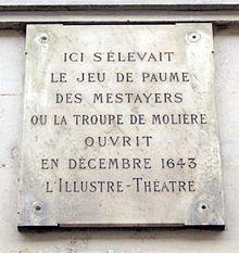 Plaque commémorant l'emplacement du jeu de paume des Métayers à Paris