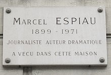 Plaque Marcel Espiau, 31 rue Saint-Placide, Paris 6.jpg