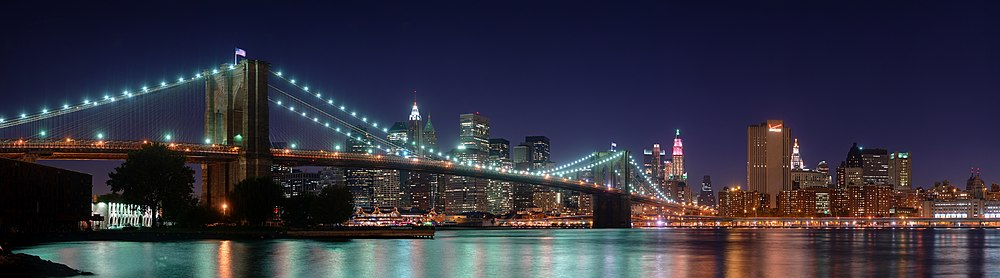 The Brooklyn Bridge with Manhattan in the background, seen at night in 2008