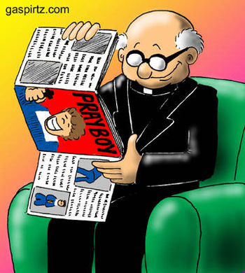 Cartoon about a priest reading an adult magazine.