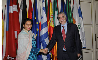 Greece–India relations - Deputy Foreign Minister of Greece Dimitris Kourkoulas and Deputy Minister of External Affairs of India Preneet Kaur.