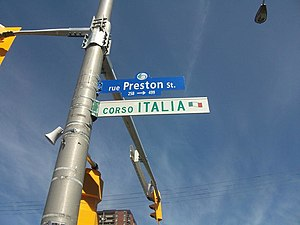 "Preston Street (Ottawa) - Preston Street sign with ""Corso Italia"" sign below"