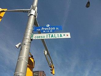 "Preston Street (Ottawa) - Preston Street sign with ""Corso Italia"" sign below"