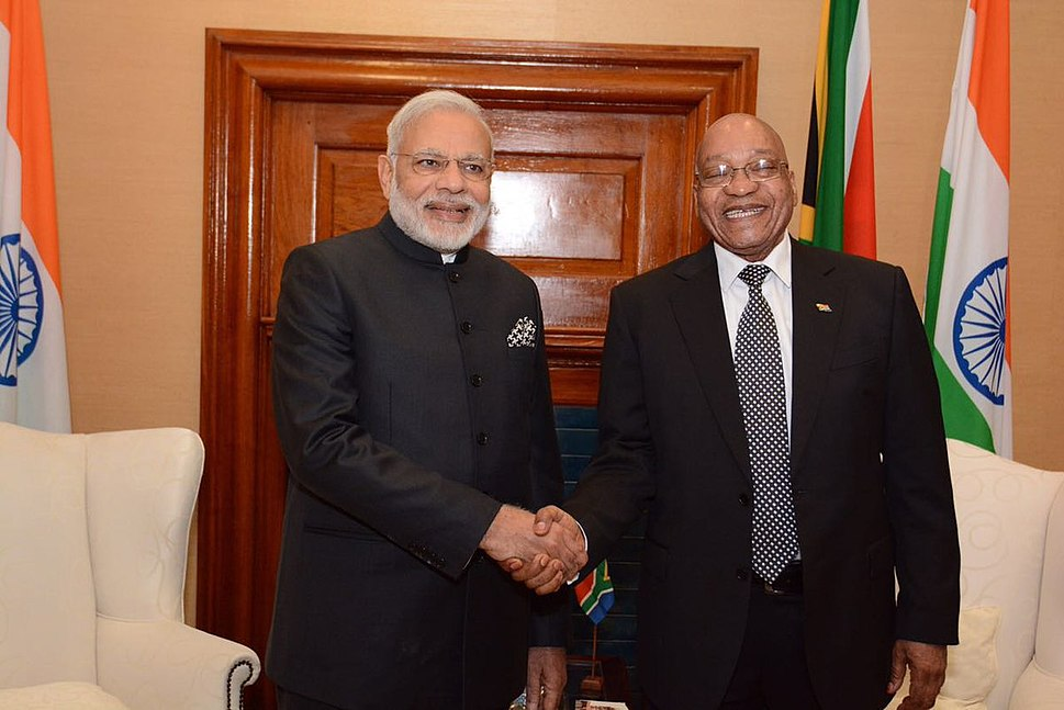 Prime Minister Narendra Modi and South Africa President Jacob Zuma in South Africa