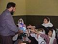 Principal and students of Ashaqan Arefan school in Kabul in 2002.jpg
