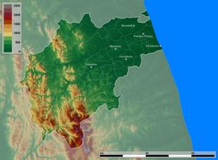 Mappa topografica della provincia