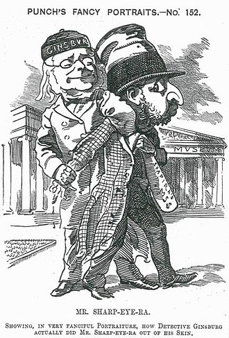 Christian David Ginsburg - 1883 Punch magazine cartoon of Ginsburg with Moses Shapira following the statement that the Shapira Scroll was a forgery.