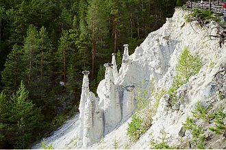 Sel - Kvitskriuprestene - White Priests - soil pyramids near Sinclairstøtten, Sel municipality.