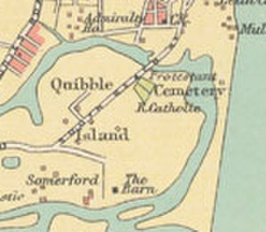 Quibble Island - Location of Quibble Island. From a 1909 map of the then Madras city