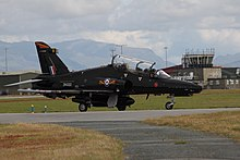 A BAE Hawk T2 of No. 4 Squadron at RAF Valley.