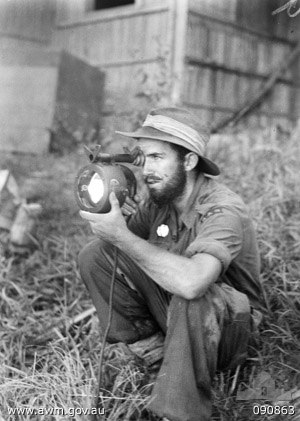 Royal Australian Navy Beach Commandos - A member of Beach Commando B during the first phase of the landing on Tarakan Island in April 1945