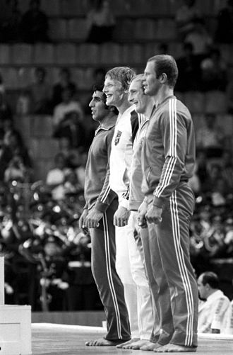 Judo at the 1980 Summer Olympics - Victory ceremony of the 95 kg event. RIAN photo.