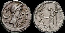Caesar war der Erste, den man zu Lebzeiten auf römischen Münzen abbildete. (Quelle: Wikimedia)