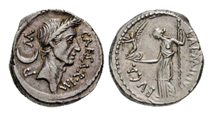 Aemilia (gens) - Denarius issued by Aemilius Buca the moneyer, depicting the laureate head of Julius Caesar, and on the reverse Venus holding Victoria and sceptre