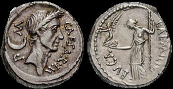 Münze mit dem Abbild Caesars, 44 v. Chr.