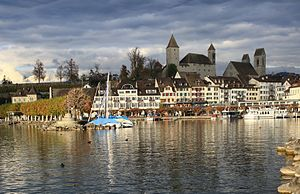 Rapperswil Altstadt, as seen from Seedamm, Fis...