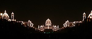 Republic Day (India) - Image: Rashtrapati Bhavan and adjacent buildings, illuminated for the Republic Day