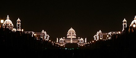 Rashtrapati Bhavan lit up for Republic Day of India Rashtrapati Bhavan and adjacent buildings, illuminated for the Republic Day.jpg