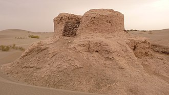 Kingdom of Khotan - Ruins of the Rawak Stupa outside of Hotan, a Buddhist site dated from the late 3rd to 5th century AD.