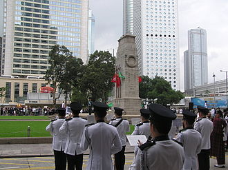 The Cenotaph (Hong Kong) - The Hong Kong Police Band at the memorial service by the Cenotaph on Remembrance Sunday