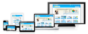 Mobile Web - Websites re-designed for mobile screens, with sizes ranging from smartphones, netbooks, and tablets, to laptops, with a desktop screen shown for scale