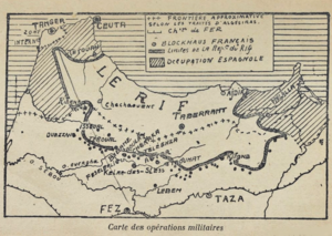 Riffian people - Le Rif, a 1926 regional French map during the Rif War.