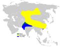 Riparia diluta distribution map.png