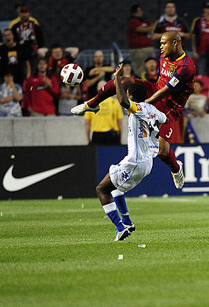 Real Salt Lake - Robbie Russell (in red) playing for Real Salt Lake.
