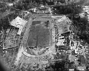 Robertson Stadium - Construction of Robertson Stadium along with Jeppesen Gymnasium in 1941