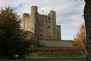 First Barons' War - The round tower (centre) and two square towers (left and right) of Rochester Castle.