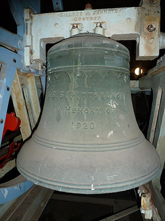 """USS Pennsylvania (ACR-4) - The number 3 bell showing the dedication to Pittsburgh.  The bell diameter is 30""""."""