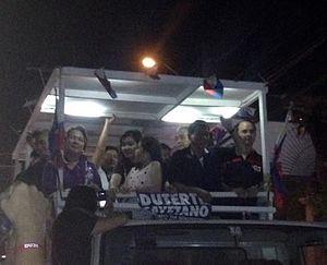 Rodrigo Duterte presidential campaign, 2016 - Duterte while at a motorcade during his visit at Navotas