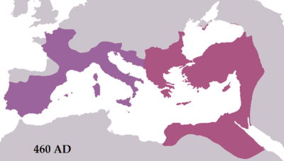 The Roman Empire during the reigns of Leo I (east) and Majorian (west) in 460 AD.