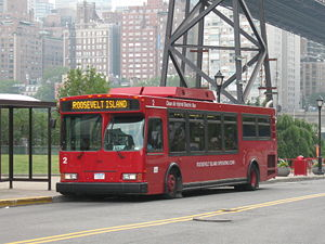 Roosevelt Island Red bus #2 sits at the Roosev...
