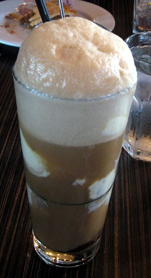Root beer float, a type of ice cream soda.