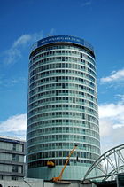 The Rotunda in Birmingham during refurbishment.