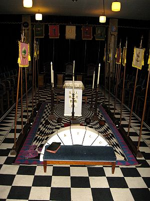 York Rite - A lodge room set out for use by a Holy Royal Arch Chapter