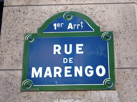 Rue de Marengo in Paris is named to commemorate the battle. Rue de Marengo, Paris.JPG