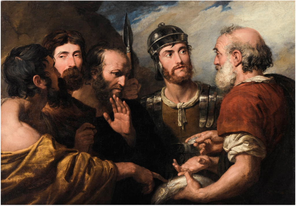 SAINT PETER PAYING THE TRIBUTE WITH A PIECE OF SILVER FOUND IN A FISH.png
