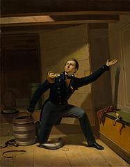 Van Speyk in de kruitkamer van het schip