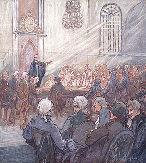 Legislative Assembly of Lower Canada - The Legislative Assembly of Lower Canada, in the Chapel of Bishop's Palace, Quebec City, oil on canvas by Charles Walter Simpson, 1927