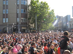 Australians - Melburnians during the live music rally in 2010