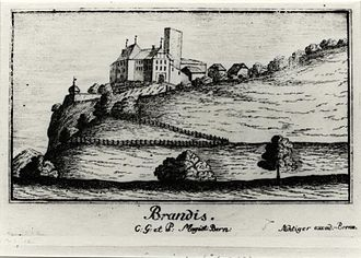 Lützelflüh - Brandis Castle in 1743, before it was destroyed in a fire