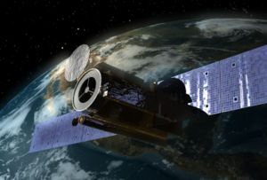 Artist's impression of the Hinode spacecraft in orbit