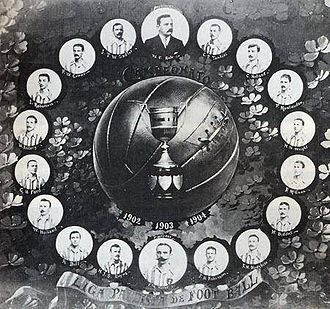 São Paulo Athletic Club - Poster of the SPAC football team honoring the three consecutive titles (1902-04).