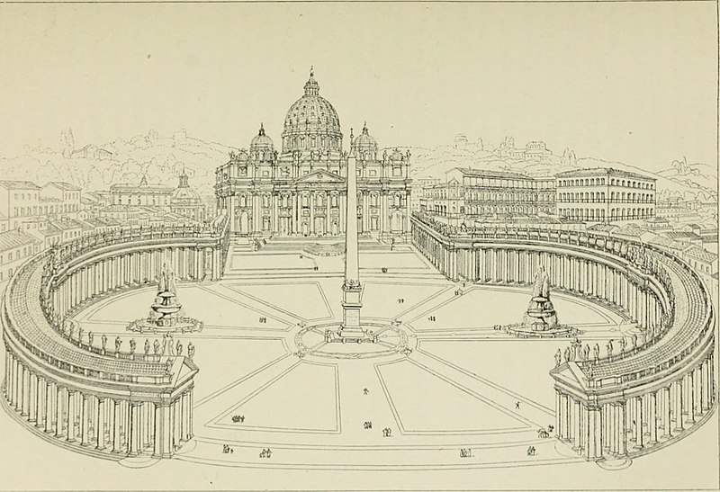 Place et basilique de Saint Pierre de Rome au Vatican.