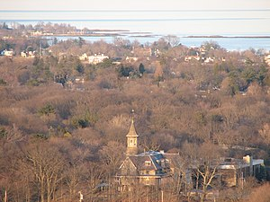 Salesian High School (New Rochelle) - View of south-eastern New Rochelle, and Salesian High School (bottom of photo)