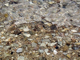 Dead Sea - Pebbles cemented with halite on the western shore of the Dead Sea near Ein Gedi.