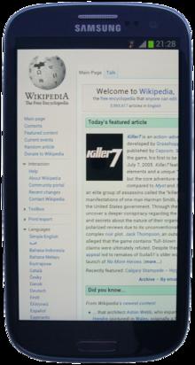 Smartphone mit Wikipediaseite.