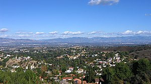 San Fernando Valley - San Fernando Valley looking northeast; from the Top of Topanga Overlook Park above Woodland Hills in foreground